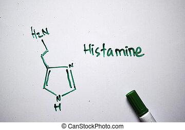concepto, molécula, químico, escrito, board., blanco, educación, formula., histamine, estructural