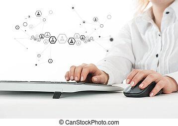 concepto, mujer, computadora, trabajando, empresa / negocio