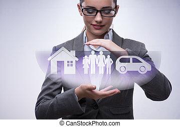 concepto, mujer de negocios, joven, seguro
