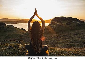 concepto, mujer, practicar, outdoors., espiritual, yoga, armonía, bienestar