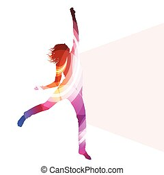 concepto, mujer, silueta, colorido, saltar, vector, ...