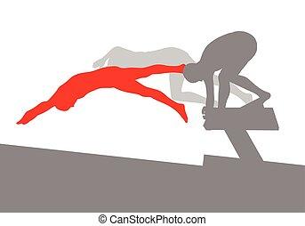 concepto, nadador, salto, vector, plano de fondo, posición, ...