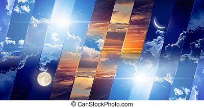 concepto, noche, tiempo, día, pronóstico