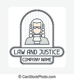 concepto, nombre, justicia, compañía, emblem., ley