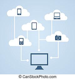 concepto, nube, almacenamiento