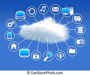 concepto, nube, informática