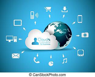 concepto, nube, plano de fondo, informática