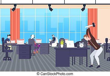 concepto, oficina, cansado, moderno, fecha tope, horizontal,...