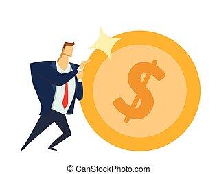 concepto, oficina, dólar, sisyphean, moneda, aislado, fondo., carrera, traje, blanco, realizando, plano, success., grande, empujar, business., goals., forward., ilustración, vector, hombre de negocios, brillante