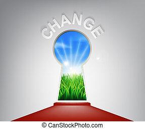 concepto, ojo de la cerradura, cambio