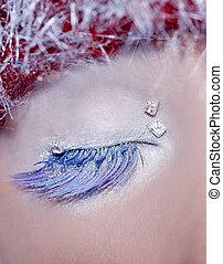 concepto, ojo, invierno, macro, maquillaje, navidad, plata, rojo