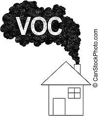 concepto, orgánico, voc, casa, venida, ilustración, chimenea...