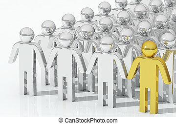 concepto, oro, sobresaliente, persona, equipo