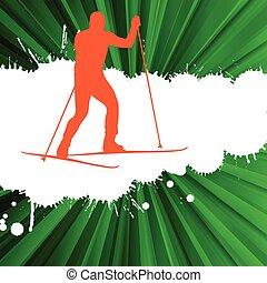 concepto, país, cruz, vector, plano de fondo, esquí, hombre