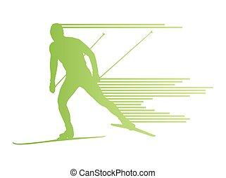 concepto, país, cruz, vector, plano de fondo, esquí