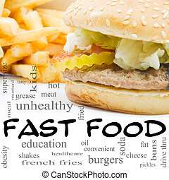 concepto, palabra, alimento, fríe, rápido, hamburguesa, nube