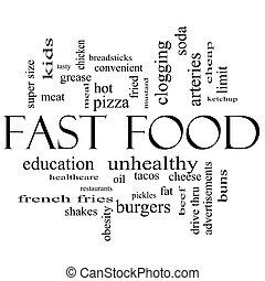 concepto, palabra, alimento, rápido, negro, nube blanca