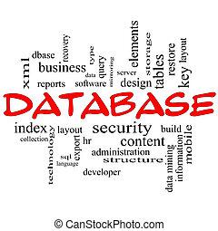 concepto, palabra, base de datos, tapas, nube, rojo