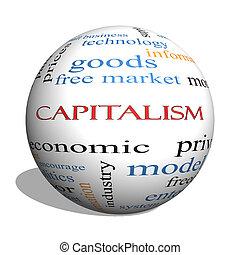 concepto, palabra, capitalismo, esfera, nube,  3D