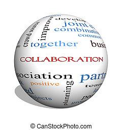 concepto, palabra, colaboración, esfera, nube, 3d