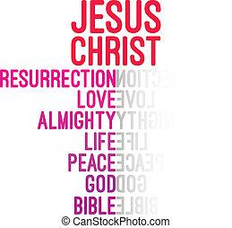 concepto, palabra, Cristo, nube,  Jesús