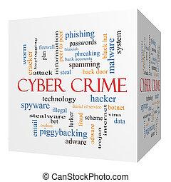 concepto, palabra, cyber, crimen, cubo, nube, 3d