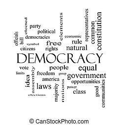 concepto, palabra, democracia, negro, blanco, nube