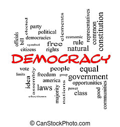 concepto, palabra, democracia, tapas, nube, rojo