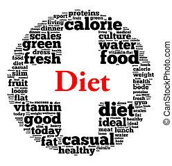 concepto, palabra, dieta, nube