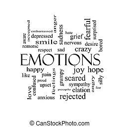 concepto, palabra, emociones, negro, nube blanca