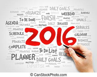 concepto, palabra, empresa / negocio, metas, 2016, nube