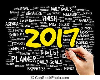 concepto, palabra, empresa / negocio, metas, 2017, nube