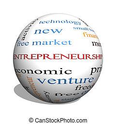 concepto, palabra, entrepreneurship, esfera, nube, 3d