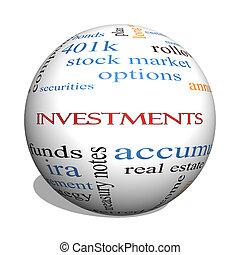 concepto, palabra, esfera, inversiones, nube, 3d