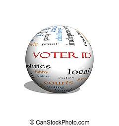 concepto, palabra, esfera, votante, identificación, nube,  3D