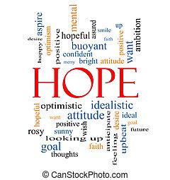 concepto, palabra, esperanza, nube