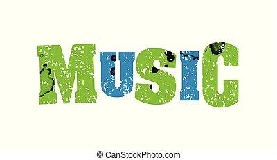 concepto, palabra, estampado, colorido, ilustración, música