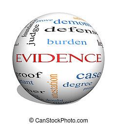 concepto, palabra, evidencia, esfera, nube, 3d