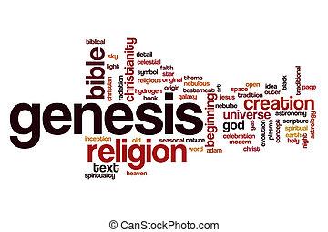 concepto, palabra, génesis, nube