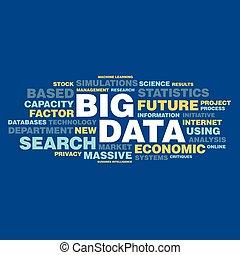 concepto, palabra, grande, etiqueta, datos, nube