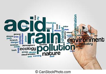concepto, palabra, gris, lluvia, plano de fondo, ácido, nube
