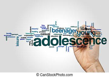 concepto, palabra, gris, plano de fondo, nube, adolescencia