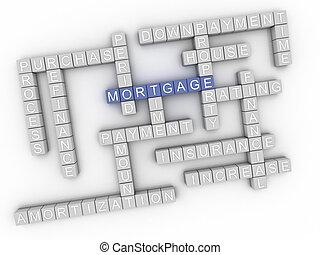 concepto, palabra, hipoteca, imagen, asuntos, plano de fondo...