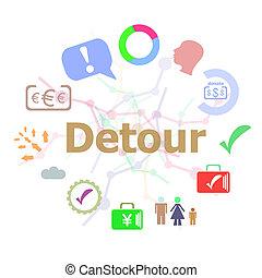 concepto, palabra, iconos del negocio, detour., texto, tipografía, conjunto, plano de fondo, línea