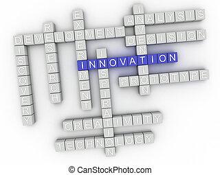 concepto, palabra, imagen, asuntos, plano de fondo, innovación, nube, 3d