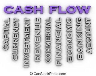 concepto, palabra, imagen, flujo, efectivo, asuntos, plano de fondo, nube, 3d