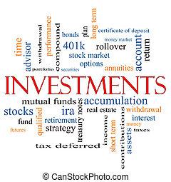 concepto, palabra, inversiones, nube