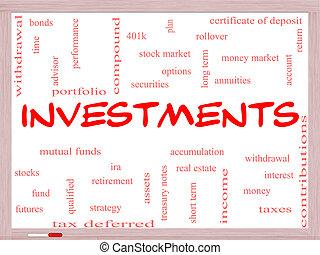 concepto, palabra, inversiones, nube, whiteboard