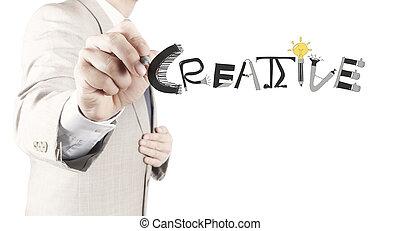 concepto, palabra, mano, diseño, hombre de negocios, creativo, dibujo