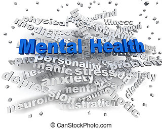 concepto, palabra, mental, imagen, salud, nube, 3d